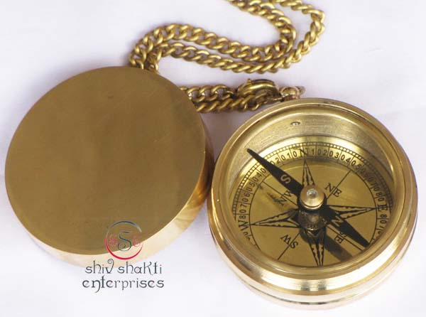 Brass Compass With Chain